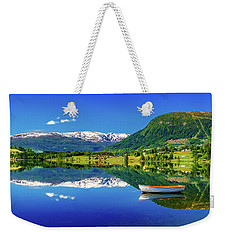 Weekender Tote Bag featuring the photograph Calm Morning On Lonavatnet by Dmytro Korol