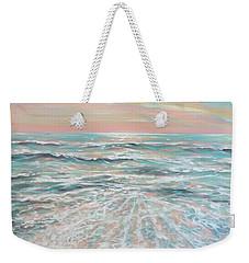 Weekender Tote Bag featuring the painting Calm Seas by Linda Olsen