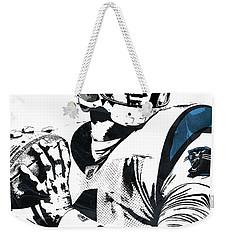 Weekender Tote Bag featuring the mixed media Cam Newton Carolina Panthers Pixel Art 3 by Joe Hamilton