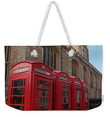 Cambridge Phone Boxes Weekender Tote Bag by David Warrington
