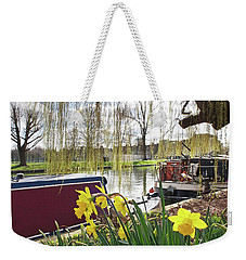 Weekender Tote Bag featuring the photograph Cambridge Riverbank In Spring by Gill Billington