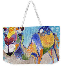 Weekender Tote Bag featuring the painting Camelorful by Jamie Frier