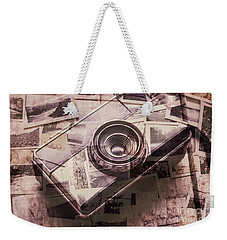 Camera Of A Vintage Double Exposure Weekender Tote Bag