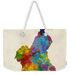 Weekender Tote Bag featuring the digital art Cameroon Watercolor Map by Michael Tompsett