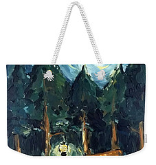 Weekender Tote Bag featuring the painting Camp At Night by Maria Langgle