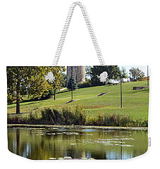 Campanile Reflection In Kansas Weekender Tote Bag