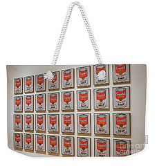 Weekender Tote Bag featuring the photograph Campbell Soup By Warhol by Patricia Hofmeester