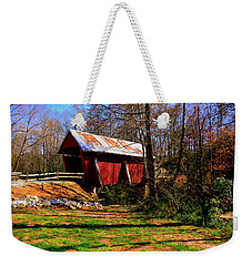 Weekender Tote Bag featuring the photograph Campbell's Covered Bridge Est. 1909 by Lisa Wooten