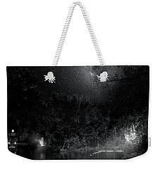 Weekender Tote Bag featuring the photograph Campfires On Milky Way River by Mark Andrew Thomas