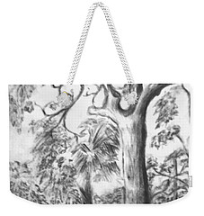 Weekender Tote Bag featuring the drawing Camping Fun by Leanne Seymour