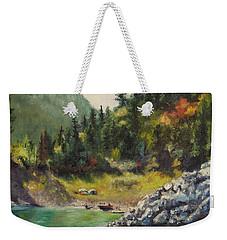 Camping On The Lake Shore Weekender Tote Bag by Lori Brackett
