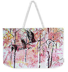Canadian Geese In Flight Weekender Tote Bag
