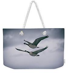 Canadian Geese In Flight Weekender Tote Bag