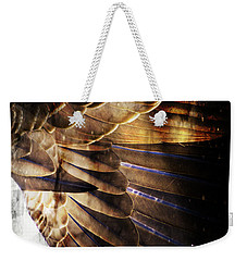 Weekender Tote Bag featuring the digital art Canadian Goose Wing  by Ayasha Loya