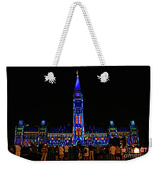 Canadian Parliament Light Show Weekender Tote Bag by Charline Xia