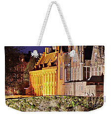 Weekender Tote Bag featuring the photograph Canal Bridge At Night - Bruges by Barry O Carroll