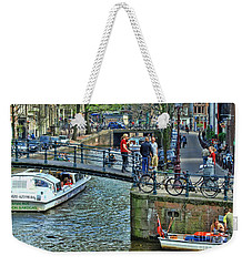 Weekender Tote Bag featuring the photograph Amsterdam Canal Scene 1 by Allen Beatty