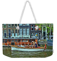 Weekender Tote Bag featuring the photograph Amsterdam Canal Scene 10 by Allen Beatty