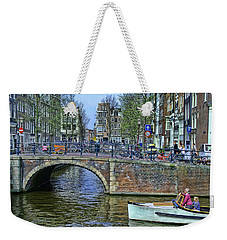 Weekender Tote Bag featuring the photograph Amsterdam Canal Scene 3 by Allen Beatty
