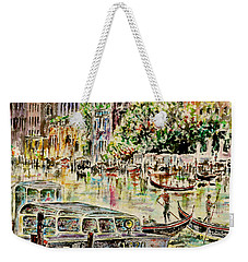 Weekender Tote Bag featuring the painting Canale Grande by Alfred Motzer