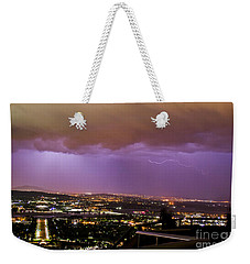 Weekender Tote Bag featuring the photograph Canberra Lightning Storm by Angela DeFrias