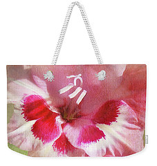 Weekender Tote Bag featuring the photograph Candy Cane Gladiola by Kathi Mirto