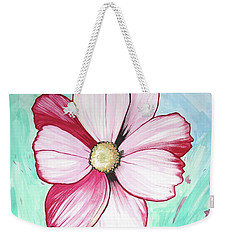 Candy Stripe Cosmos Weekender Tote Bag by Mary Ellen Frazee