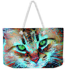 Candy The Colorful Green Eyed Cat Weekender Tote Bag