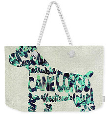 Weekender Tote Bag featuring the painting Cane Corso Watercolor Painting / Typographic Art by Ayse and Deniz