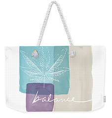 Weekender Tote Bag featuring the mixed media Cannabis Leaf Watercolor 3- Art By Linda Woods by Linda Woods