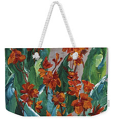 Weekender Tote Bag featuring the painting Cannas by Jamie Frier