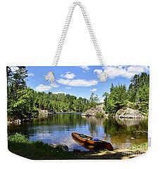 Canoe At The Portage Landing -- Slim Lake Weekender Tote Bag