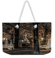 Weekender Tote Bag featuring the photograph Canopy Of Christmas Lights by Kendall McKernon