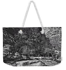 Weekender Tote Bag featuring the photograph Canyon Corner - Bw by Christopher Holmes