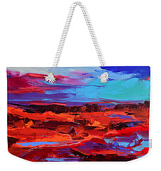 Weekender Tote Bag featuring the painting Canyon At Dusk - Art By Elise Palmigiani by Elise Palmigiani
