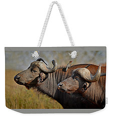 Cape Buffalo And Their Housekeeper Weekender Tote Bag