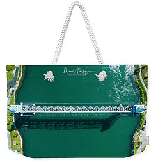 Weekender Tote Bag featuring the photograph Cape Cod Canal Railroad Bridge by Michael Hughes