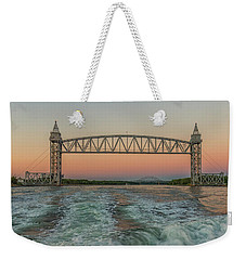 Cape Cod Canal Railroad Bridge Sunset Weekender Tote Bag