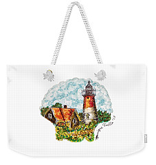 Weekender Tote Bag featuring the painting Cape Cod Lighthouse by Monique Faella