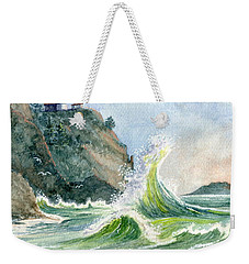 Weekender Tote Bag featuring the painting Cape Disappointment Lighthouse by Marilyn Smith