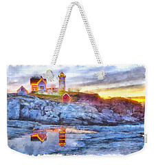 Cape Neddick Light Watercolor Weekender Tote Bag