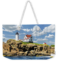 Weekender Tote Bag featuring the painting Cape Neddick Lighthouse by Christopher Arndt