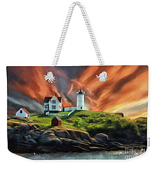 Weekender Tote Bag featuring the digital art Cape Neddick Nubble Lighthouse by Lois Bryan
