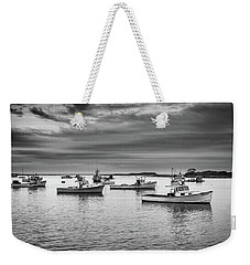 Weekender Tote Bag featuring the photograph Cape Porpoise Harbor In Black And White by Rick Berk