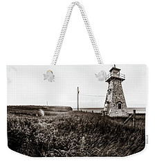 Weekender Tote Bag featuring the photograph Cape Tryon Light - Bw by Chris Bordeleau