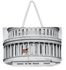 Weekender Tote Bag featuring the photograph Capitol Flag by John Schneider