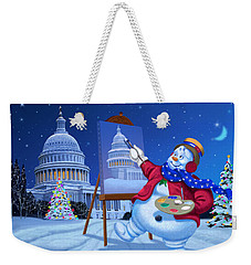 Weekender Tote Bag featuring the painting Capitol Snoman by Michael Humphries