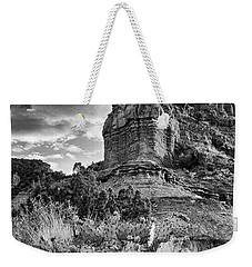 Weekender Tote Bag featuring the photograph Caprock And Cactus by Stephen Stookey