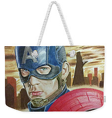 Weekender Tote Bag featuring the drawing Captain America by Michael McKenzie