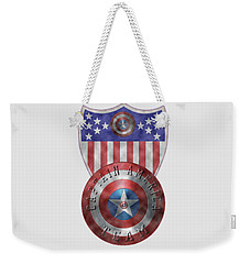 Captain America Shields On Gold  Weekender Tote Bag by Georgeta Blanaru
